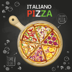 Obraz na Szkle Do pizzerii Italiano Pizza poster background
