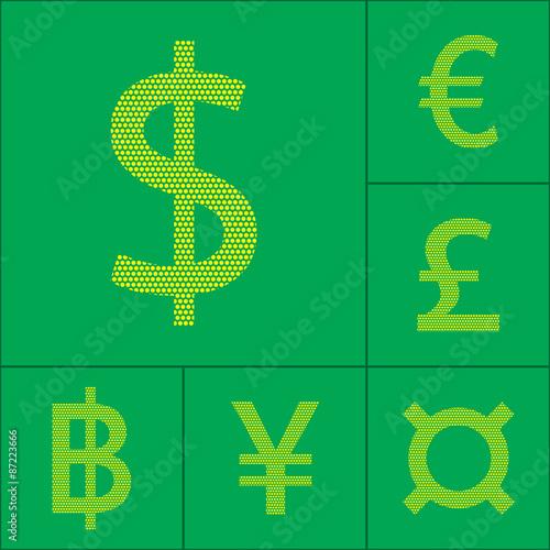 Currency Symbol Dollar Euro Yen Pound Baht Vector Illustration
