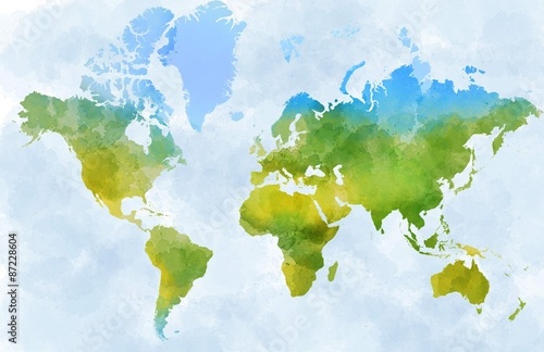 Fotografia  Cartina mondo, disegnata illustrata pennellate