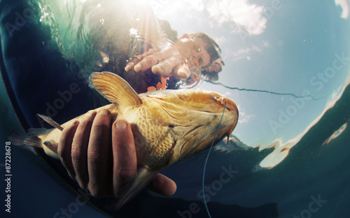 Poster Peche Fisherman with fish