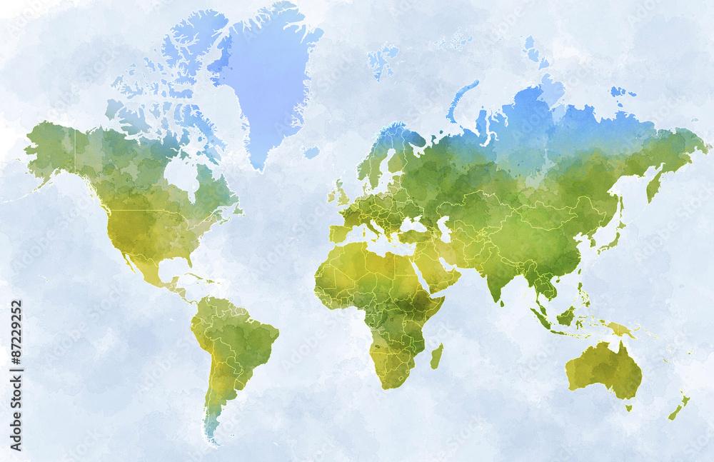 Fototapety, obrazy: Cartina mondo, disegnata illustrata pennellate, confini Stati