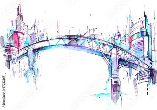 Spoed Foto op Canvas Brug bridge