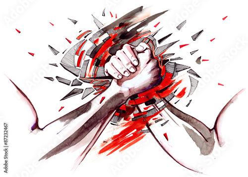 Foto auf Leinwand Gemälde armwrestling