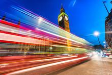 Beautiful Bus Light Trails Under Big Ben, London