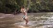 Woman swinging on a rope swings