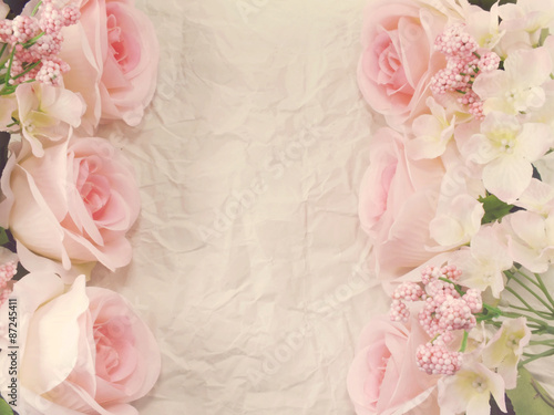 Beautiful Roses Flower On Paper Texture Background With Filters