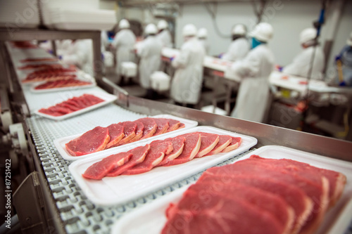 Pork chops at handling factory packaging plant raw organic