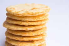 A Stack Of Cheesy Rice Cracker...