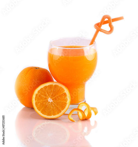 Foto op Canvas Sap orange juice with straws love on white background