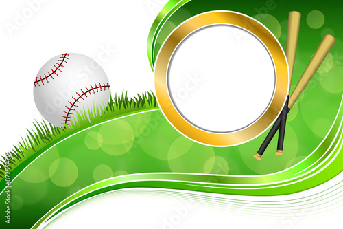 0af52120bf79 Background abstract green grass baseball ball gold circle frame  illustration vector