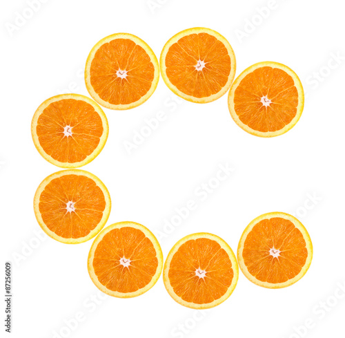 Foto op Canvas Vruchten C slice of orange isolated on white background