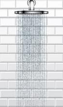 Bathroom Rain Shower On White Brick Tiles Vector