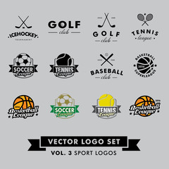 Fototapeta Sport Retro Vintage Hipster Sport Vector Logo Set. Baseball, tennis, soccer, football, golf, icehockey, basketball.