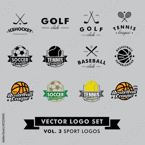 Retro Vintage Hipster Sport Vector Logo Set. Baseball, tennis, soccer, football, golf, icehockey, basketball. - 87258045