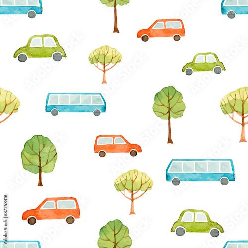 akwarela-bezszwowe-wzor-samochod-autobus-i-drzewa