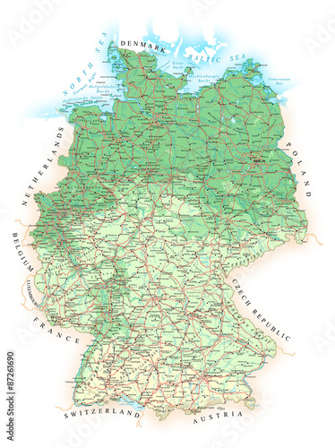 Germany - detailed topographic map - illustration.Map contains ...