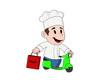 yemek teslimatı yapan genç aşçı çocuk