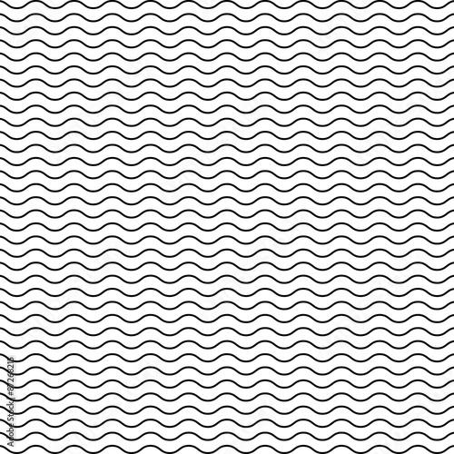 Fotografie, Obraz  Black seamless wavy line pattern