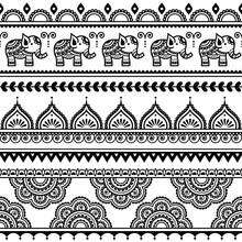Mehndi, Indian Henna Tattoo Seamless Pattern With Elephants