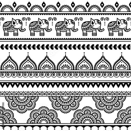 Mehndi, Indian Henna tattoo seamless pattern with elephants Wallpaper Mural