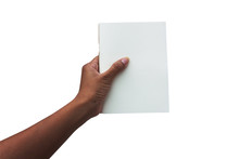 Hand Women Holding White Book Isolate Background