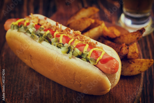Hot Dog with Potato Wedges - 87274256