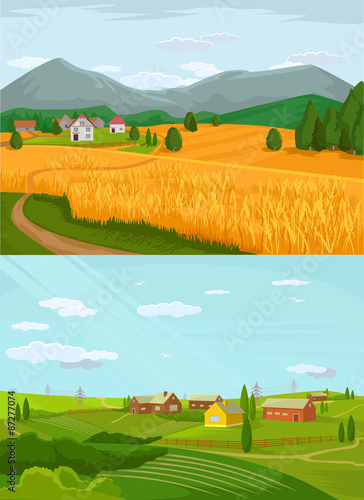 Foto op Plexiglas Turkoois Vector village flat illustration set