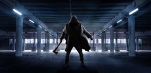 Man With Axe Waiting In Public Parking Garage