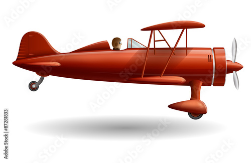 Illustration with retro red plane, EPS 10 contains transparency. Wallpaper Mural