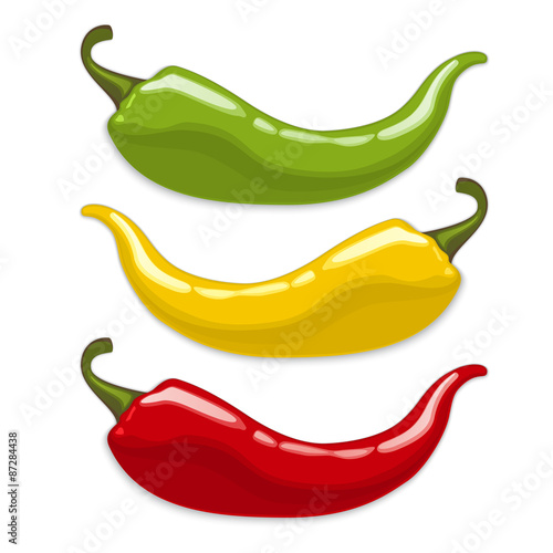 Fényképezés  Chili peppers. Isolated vector