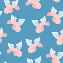 Winged Penis Seamless Pattern. Vector Background Of Dildos With