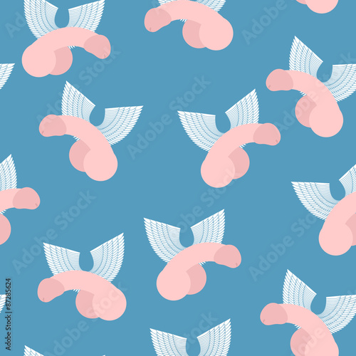 Foto Winged penis seamless pattern. Vector background of dildos with