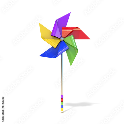 Fotografia, Obraz  Pinwheel toy, five sided, differently colored vanes