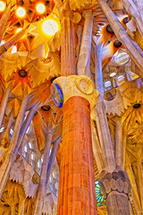 Fototapeta Barcelona Ceilings and columns of the Sagrada Familia Cathedral in Barcelo