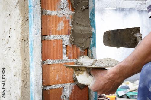 Fotografía  Obreros de la Construcción Trabajando en obra