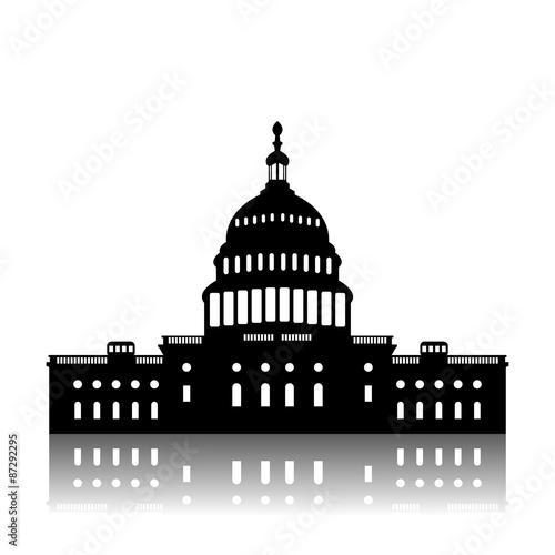 Fotografia, Obraz  Washington Capitol building skyline silhouette vector