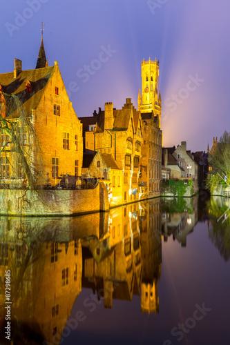 Wall Murals Bridges Bruges, Belgium at dusk.