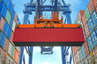 canvas print picture - Shore crane loading containers in freight ship
