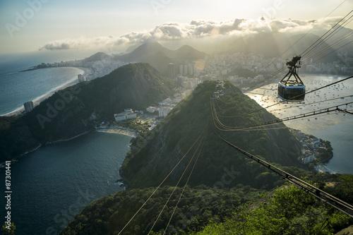 Sunset view of Sugarloaf Pao de Acucar Mountain Rio de Janeiro Brazil cable car city skyline