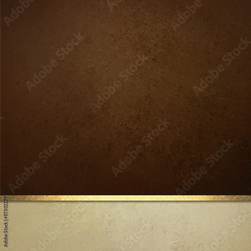 Fotografie, Obraz  dark brown background website or poster layout, fancy elegant off white vintage