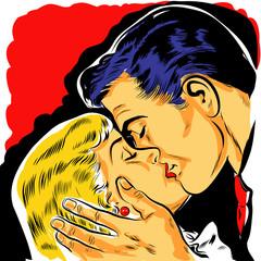Fototapetapop art couple amoureux baiser dessin couleur