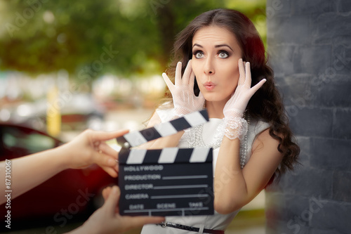 Surprised Actress Shooting Movie Scene Canvas Print