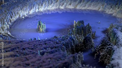 In de dag Aubergine 3D render of an abstract Landscape made of tiny cubes