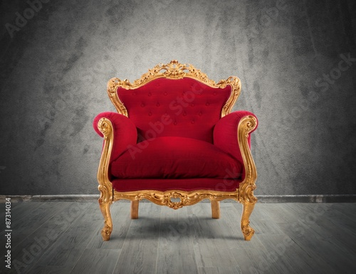 Fotografie, Obraz  Red and gold luxury armchair