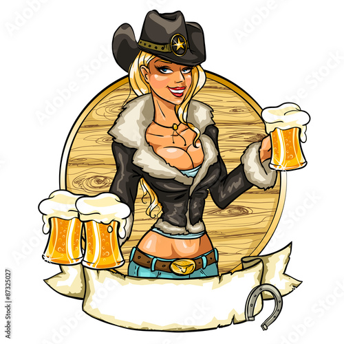 Fotografie, Obraz  Sexy cowgirl with glasses of beer