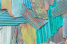The Colorful Metal. Colorful Of Rusted Galvanized Iron Plate