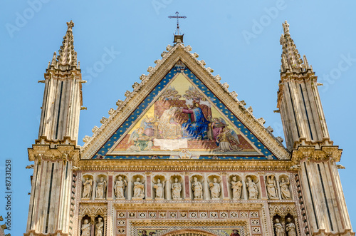 Fotobehang Praag Orvieto Cathedral, top of the facade, Italy