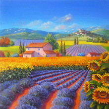 Original Oil Painting Sunflowers And Lavender 2