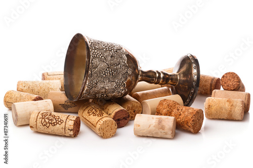 Fotografie, Obraz  Old goblet and wine corks