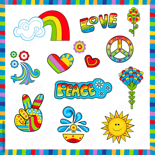 Photo  60's style Icons - Groovy colorful sixties style icons with peace and love signs